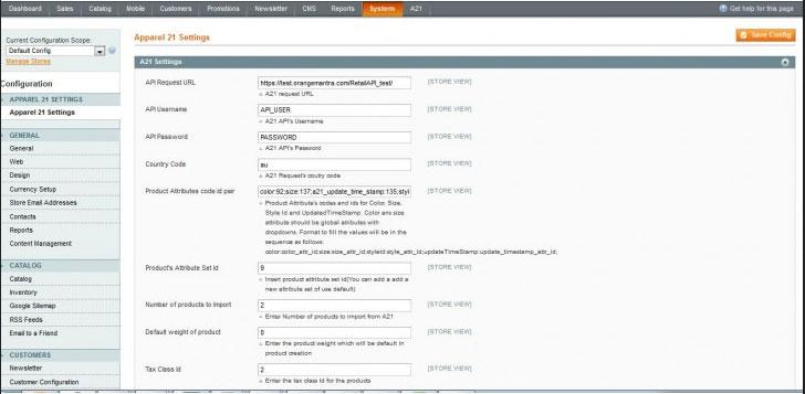 Magento Apparel21 Integration